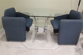 glass top table, acrylic/lucite base  with 2 Dillingham mid century blue chairs