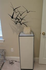 Curtis Jere signed bird sculpture, on lighted pedestal