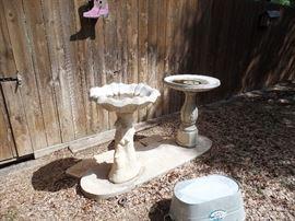 Two concrete fountains