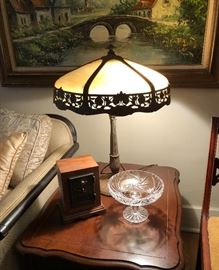 Antique Miller slag stained glass lamp.