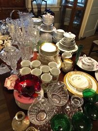 China, Mikasa, Waterford crystal, depression glass, Lenox.