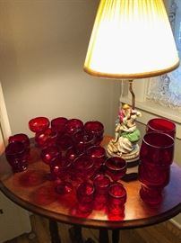 Ruby red cranberry glass. Vintage figural lamp.