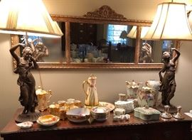 Large antique buffet with glass top.  Gilt three-panel mirror.  Pair of large bronze on spelter lamps.  Limoges Pickard pieces, RS Prussia tea set. Limoges bone plates.  Nippon