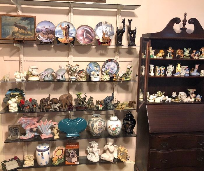 Elephant collection, vases, collector plates, vases, figurines.