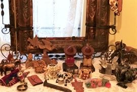 Hughes copper and wrought iron frames.  Various Southwestern items, railroad spike.