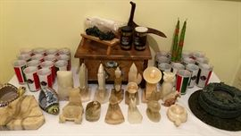 Carved stone items. Enameled glassware tumblers.