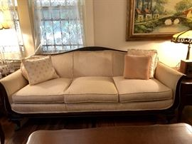 Long upholstered sofa, excellent condition.