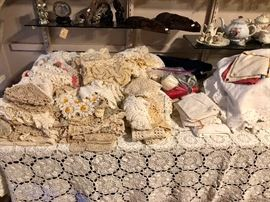 Hand made lace and linen items, tablecloths, doilies and more.
