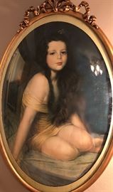 Pastel of girl in oval frame.