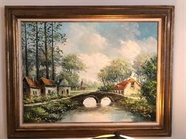 Large country scene oil painting.