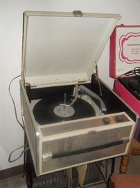 one of several vintage record players.