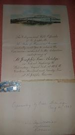 """Save The Date!! Please plan on attending next weekend's Large 2 Day 8 Family/Estate Sale. All New Items!! The warehouse is full again!! Much St. Joseph collectibles, 1929 """"Invitation to Opening Free Highway 36 Bridge"""""""
