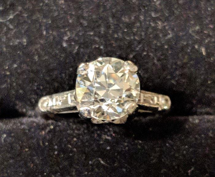 1.75+ Carat Center Stone Diamond Ring in Platinum