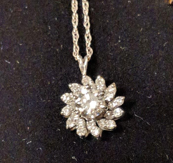 .75+ Carat total Diamond Pendant in 14k White Gold