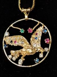 Diamond, Emerald, Ruby and Sapphire Custom Pendant set in 14k Gold with 14k Gold Necklace