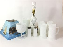 Vintage Milk Glass Lot, including Table Lamp    http://www.ctonlineauctions.com/detail.asp?id=738868