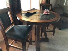 HIGH TOP TABLE WITH SLATE TOP AND 2 CHAIRS