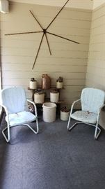 Mcm metal chairs, pottery, and an antique drying rack