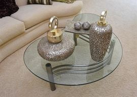 Contemporary Glass-Top Cocktail / Coffee Table with Metal Base, Home Decor
