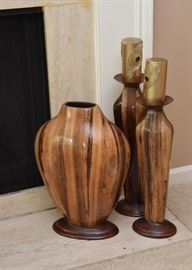 Wood Carved Vase & Candle Holders