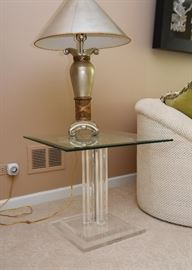 Lucite End Table with Glass Top