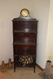 Vintage Shelf unit, clock, and home decor