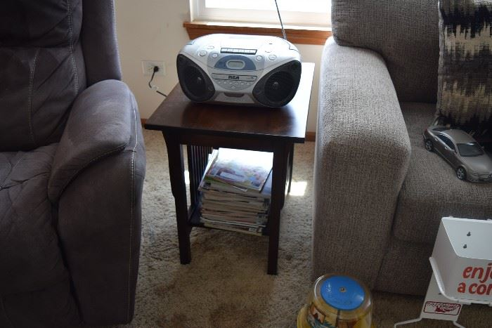 Side table and radio