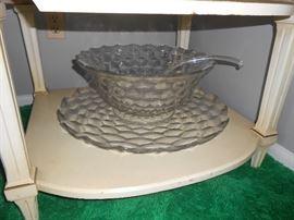 Huge Fostoria punch bowl set with ladle