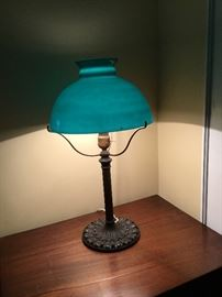 antique green glass lamp