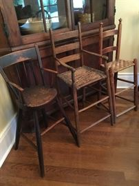 1800's antique child high chairs