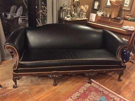 Custom Black Leather sofa $1,200