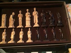 Chess set hand carved wood new never used From England