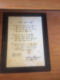 Hitchcock letter inside hutch drawer