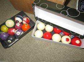 old pool balls, bumper pool balls