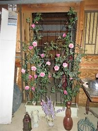 large silk floral trellis in pots