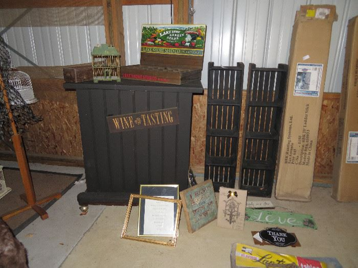 rolling bar, signs, seed box, hunting ladder, crate shelves