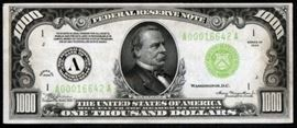 $1000 Currency Bill