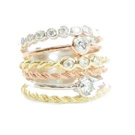 TriColor Gold & Diamond Ring