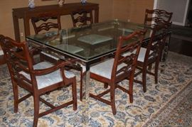 Contemporary Glass and Chrome Dining Table, Mahogany Chairs and Breakfront.