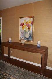 Console Table with Art and Decorative Items