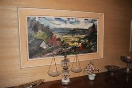 Original Oil Paintings and Art with Decorative Scales, Floral and Serving Pieces