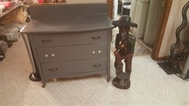 Painted dresser and Cool Carved guy