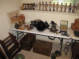 Vintage wood crates, fish floats, ceramic figurines .