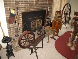 Spinning wheel, mini stove, wash stand & wringer,