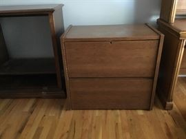 Full set of wood office furniture—desk, credenza and 2-drawer lateral file.