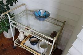 Wrought Iron painted Tea Cart