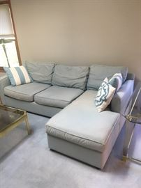 Crate & Barrel Light Blue Sofa with Matching Cushions