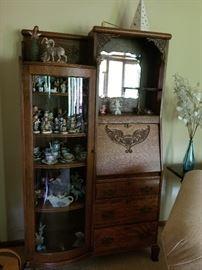 Perfect condition antique secretary/curio cabinet