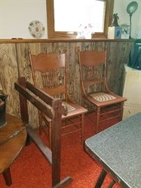 Vintage chairs and quilt rack