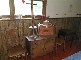 Remington ammo box, antique dresser, side table, and stand